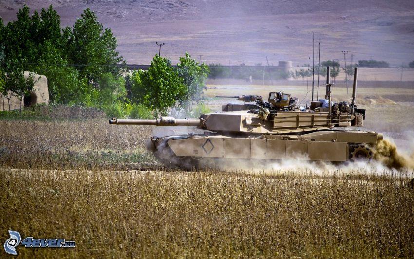 M1 Abrams, tank, pole, stromy