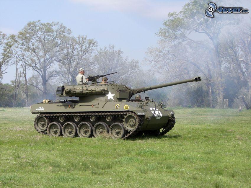 M18 Hellcat, tank, vojaci, lúka