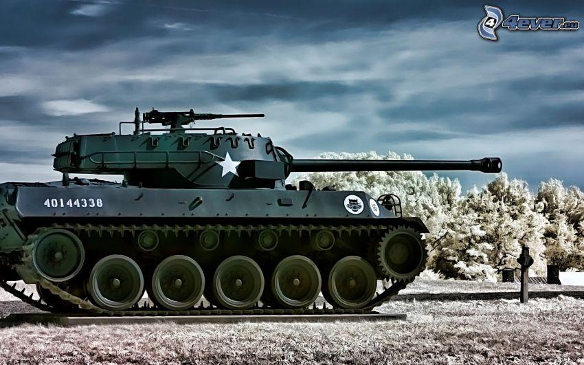 M18 Hellcat, tank, zasnežené stromy