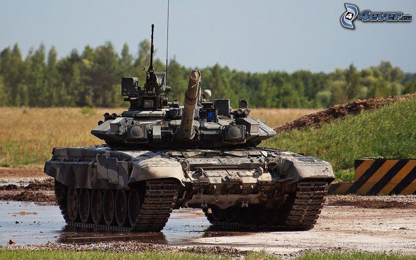 T-90, tank, lúka, les