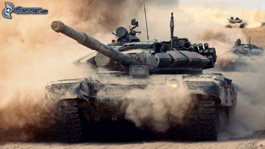 T-90, tanky, prach