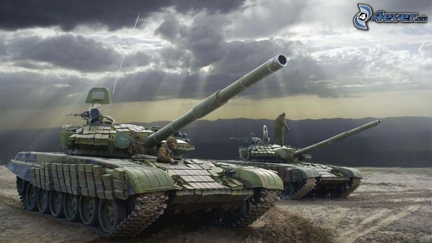 T-90, tanky, slnečné lúče