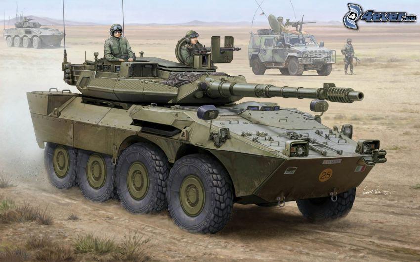 tank, vojaci, kreslené