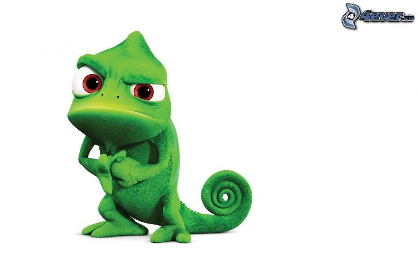 chameleón, Na vlásku