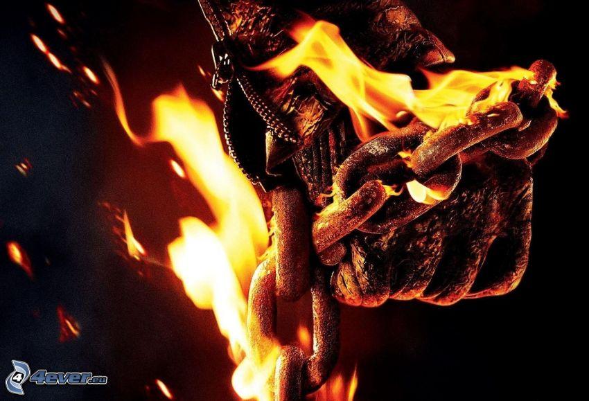 Ghost Rider, plameň, reťaz