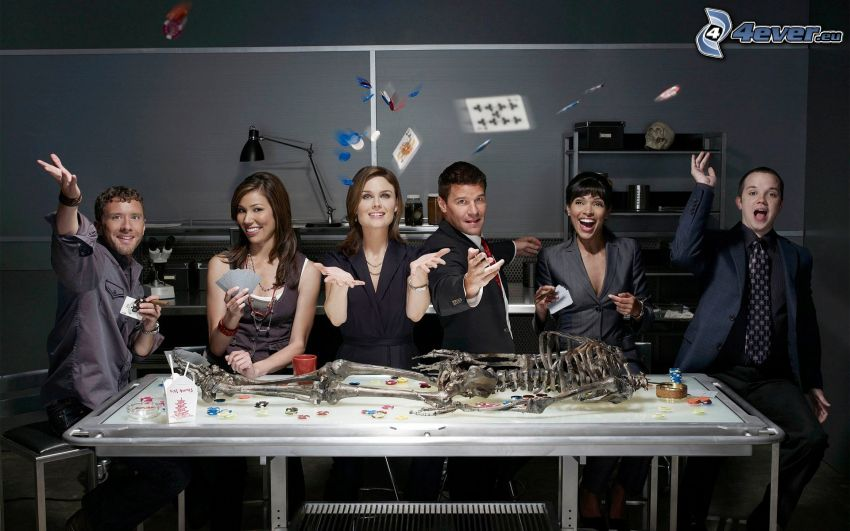 Kosti, Temperance Brennan, Seeley Booth, Emily Deschanel, David Boreanaz, Michaela Conlin, karty, kostra
