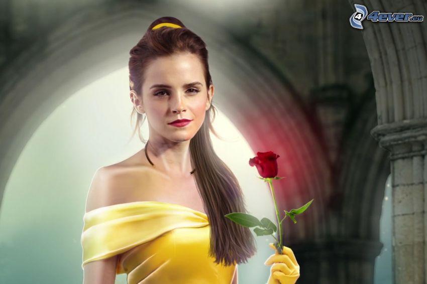 Kráska a zviera, Emma Watson, červená ruža