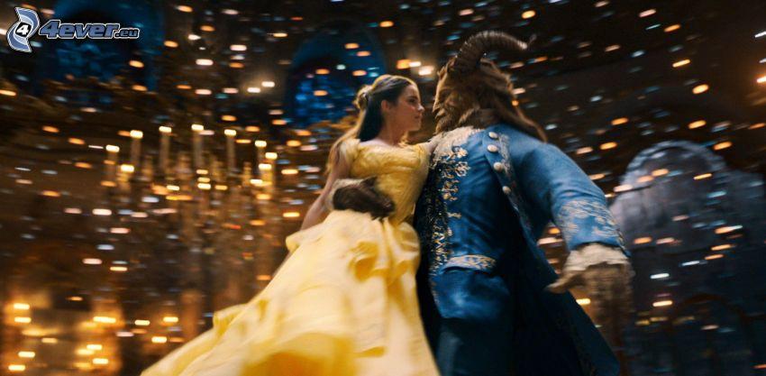 Kráska a zviera, Emma Watson, žlté šaty, tanec