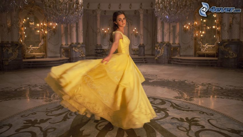 Kráska a zviera, Emma Watson, žlté šaty