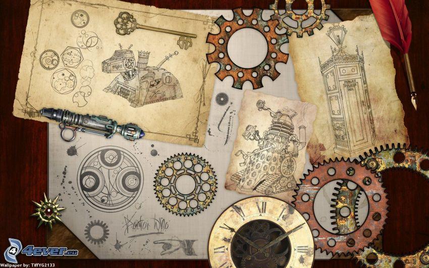 ozubené kolesá, náčrty
