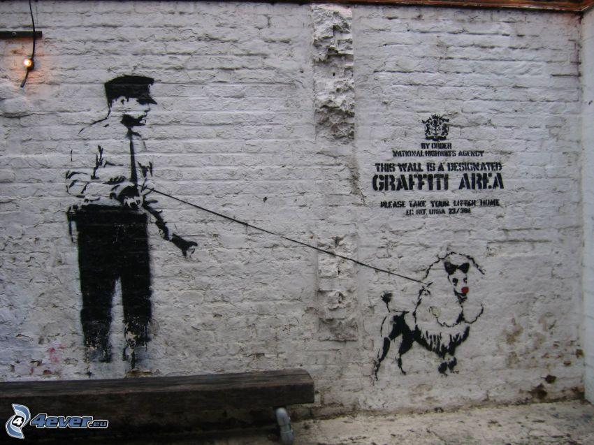 graffiti, policajt, pes