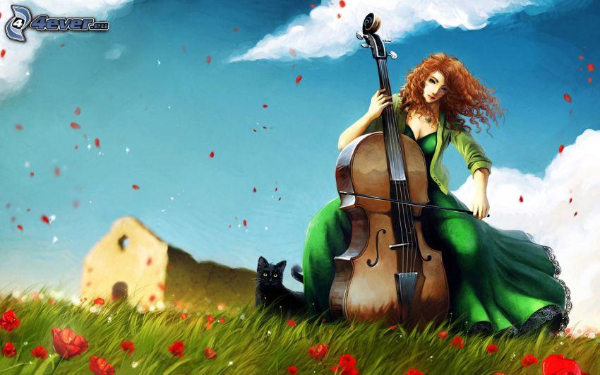 dievča hrajúce na violončelo, starý dom, čierna mačka, vlčí mak, lúka