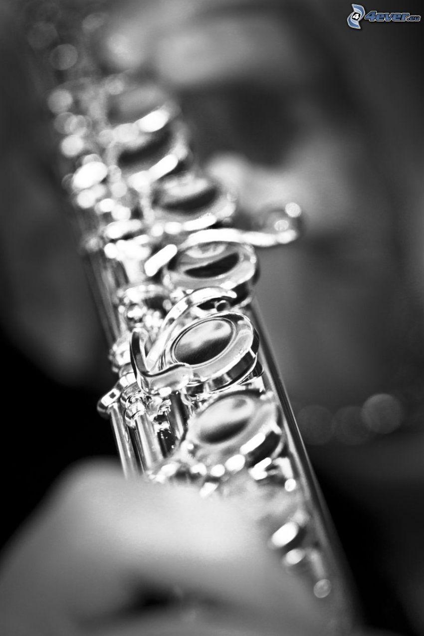 flauta, čiernobiela fotka