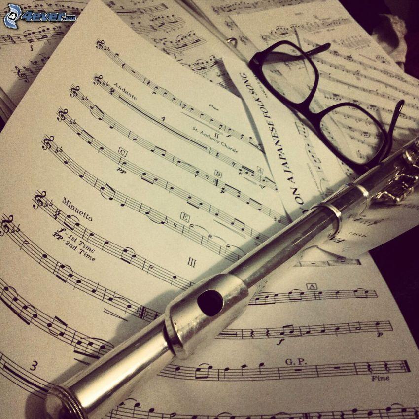 flauta, noty, okuliare