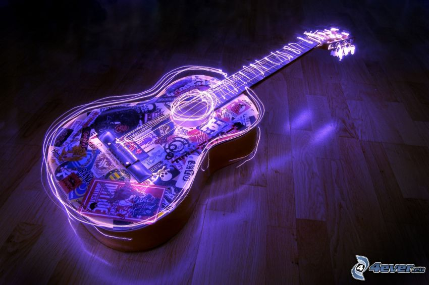 gitara, žiara, lightpainting