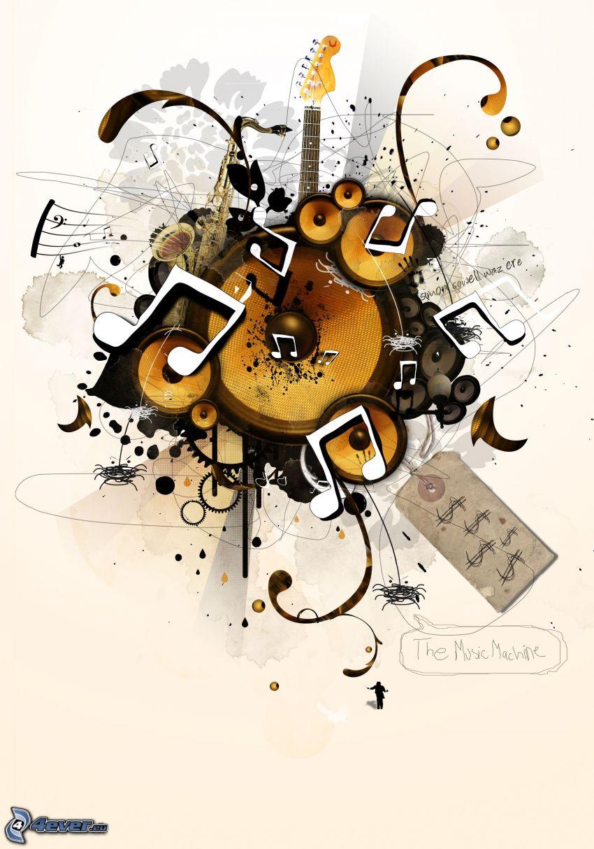 hudba, hudobné nástroje, koláž, reproduktor, gitara