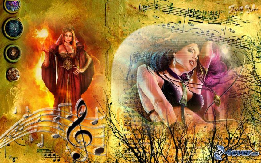 hudobná koláž, ženy, noty