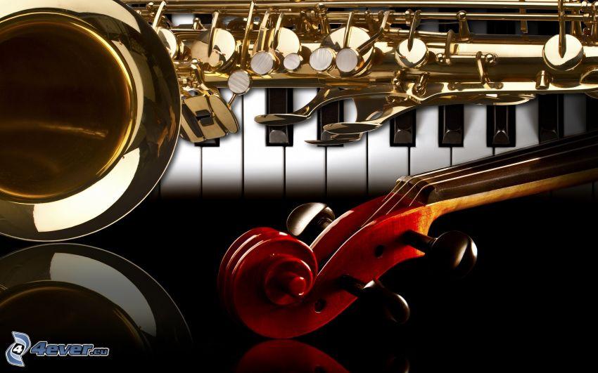 hudobné nástroje, klavír, husle, flauta