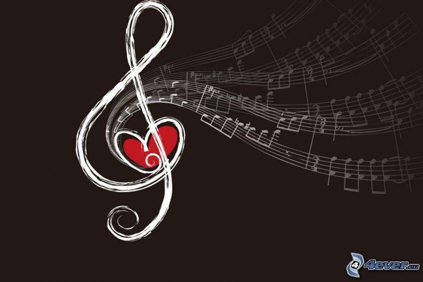 husľový kľúč, noty, srdiečko, hnedé pozadie, kreslené
