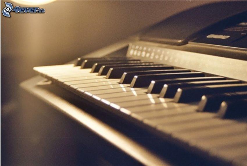 klavír, sépia