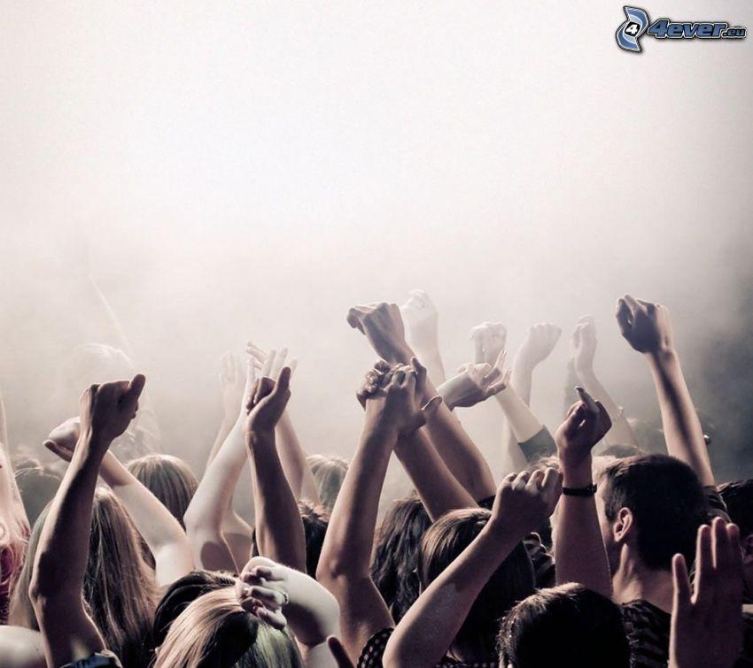 koncert, fanúšikovia, ruky