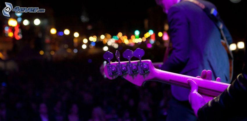 koncert, gitaristi, hra na gitare, svetlá