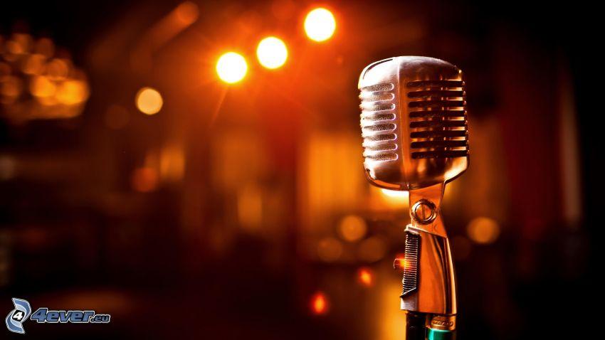 mikrofón, svetlá, noc