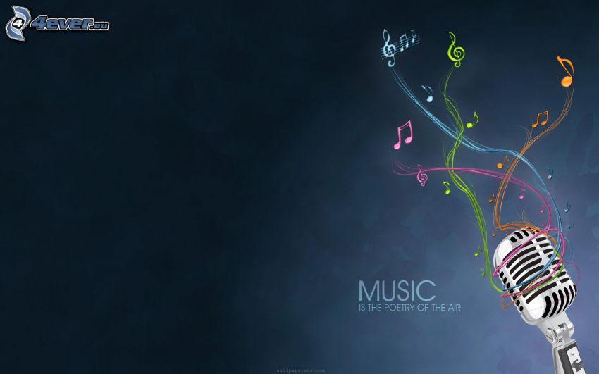 music, mikrofón, noty, farebné čiary