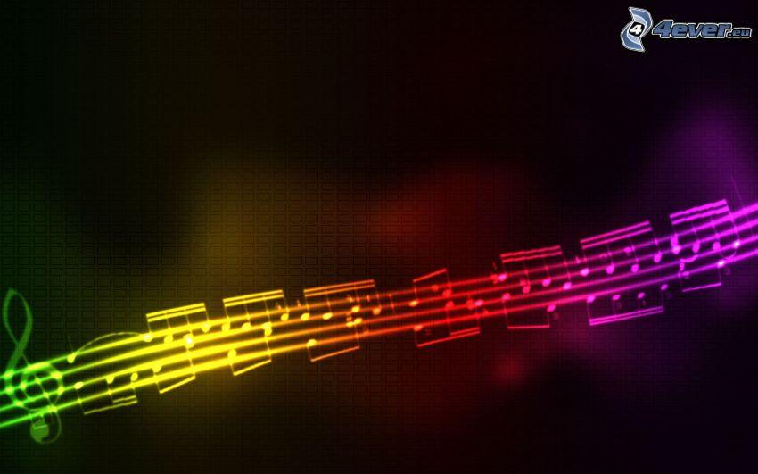 noty, husľový kľúč, dúhové farby