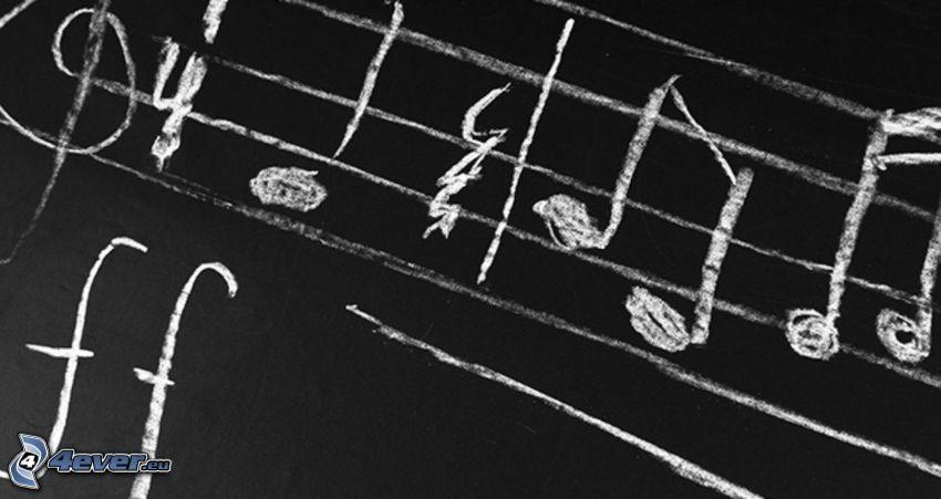 noty, husľový kľúč, tabuľa