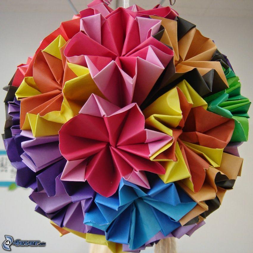origami, guľa, farebné papiere