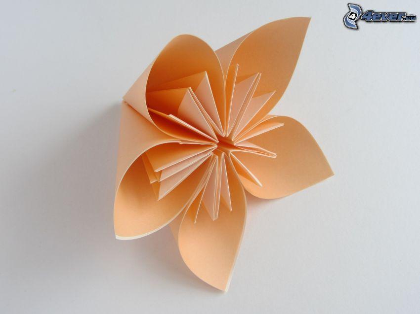 origami, oranžový kvet