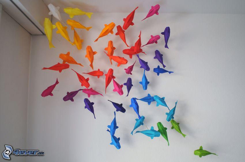 origami, ryby, farebné papiere