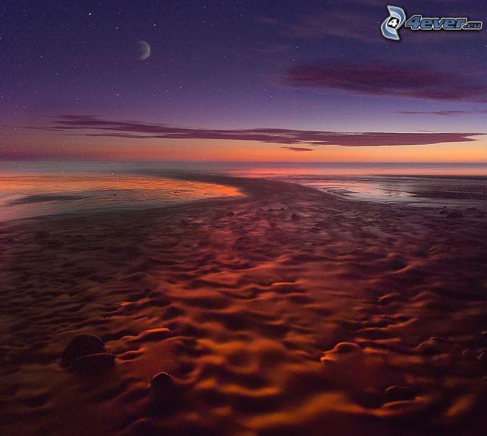 pobrežie v noci, mesiac