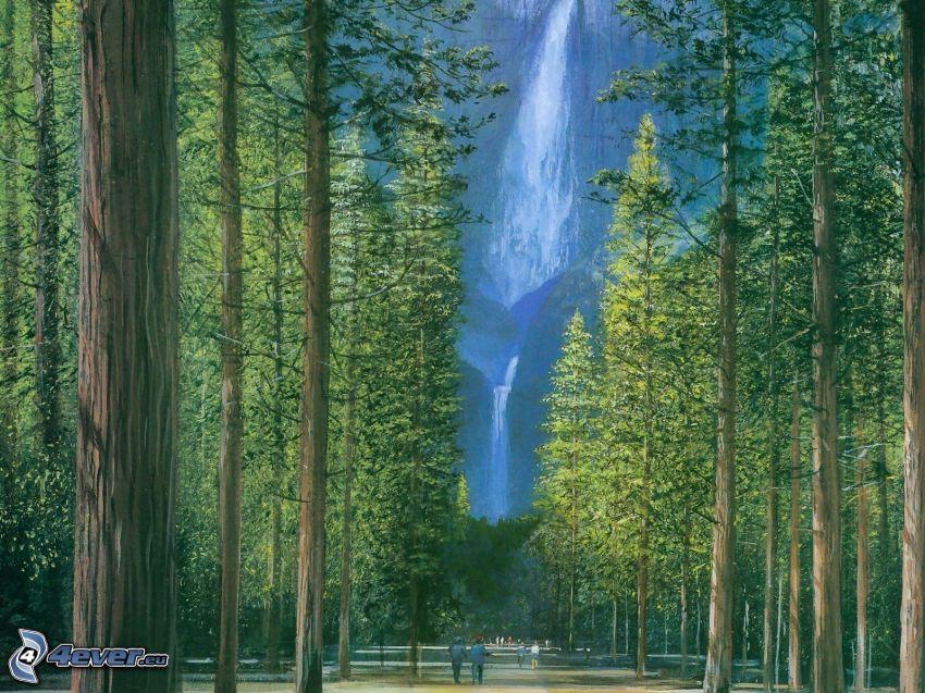 vodopády, les, Yosemitský národný park