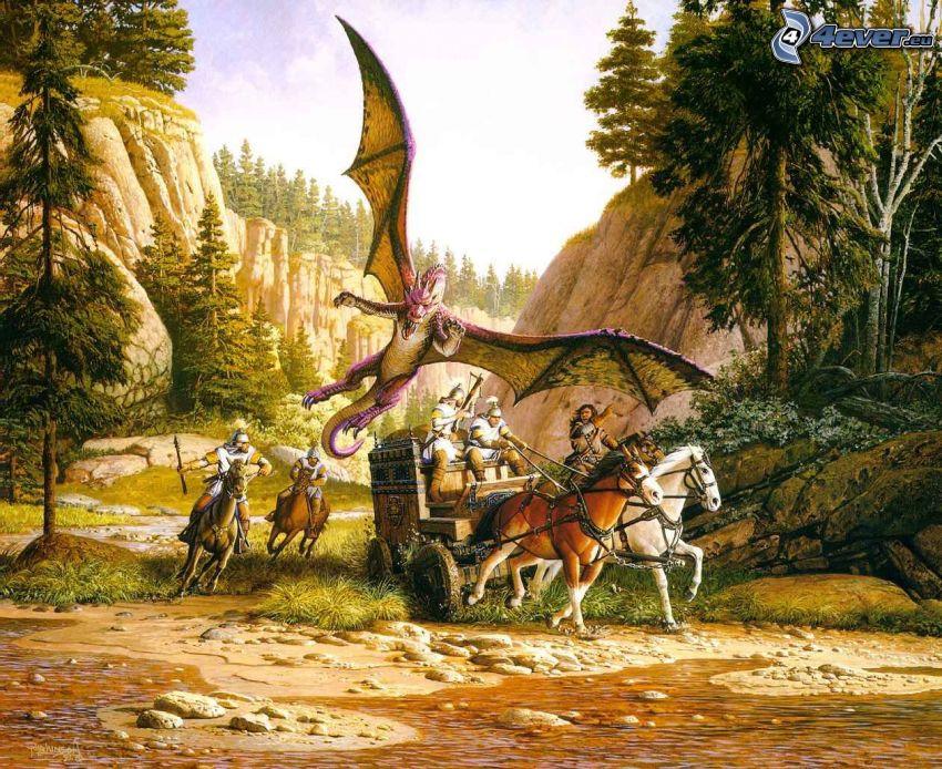 vojaci, kone, lietajúci drak, koč, úžina