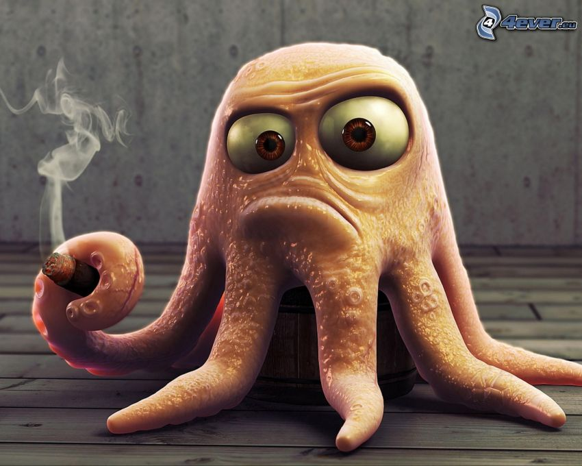 chobotnica, cigareta