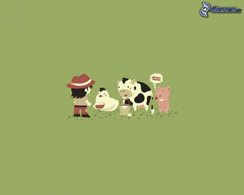 farmár a jeho zvieratá, vajcia, mlieko, slanina