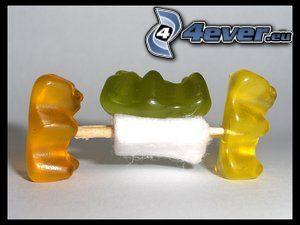 gumené medvedíky, cukríky, zranenie