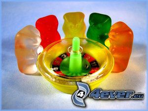 gumené medvedíky, ruleta