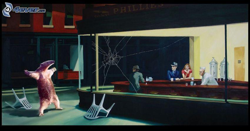 ľadový medveď, rozbité sklo, kaviareň, stoličky, ľudia