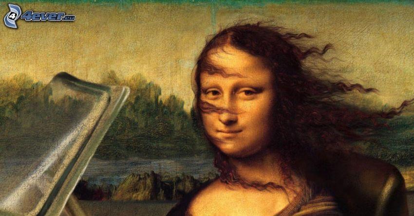 Mona Lisa, paródia, rozlietané vlasy, kabriolet