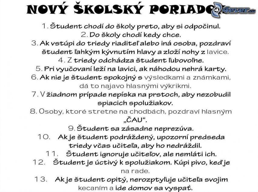 Nový školský poriadok