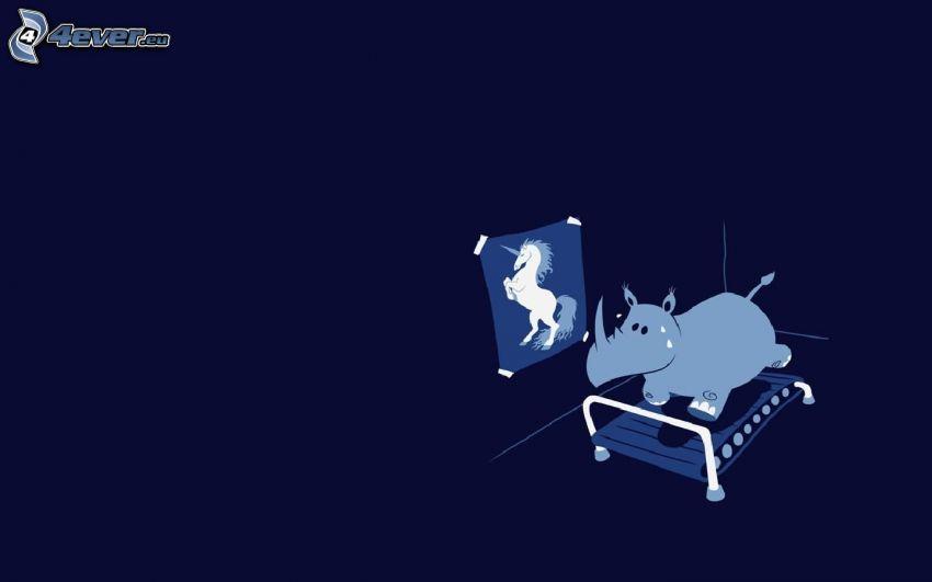 posilňovanie, nosorožec, jednorožec, vízia
