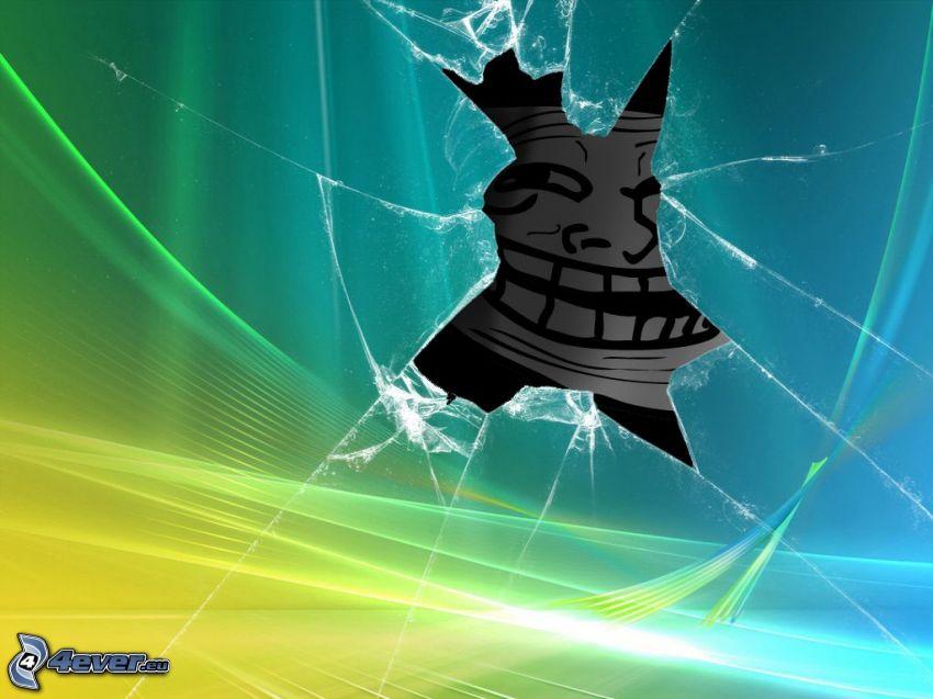 rozbité sklo, troll face, Windows Vista