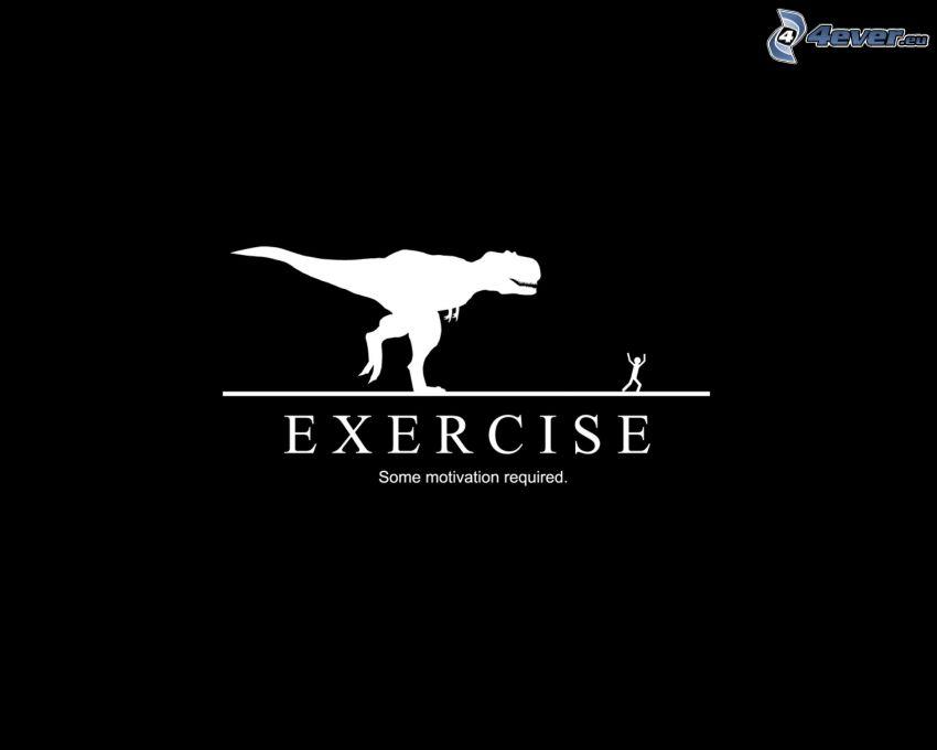 Tyranosaurus, človek, cvičenie, motivácia