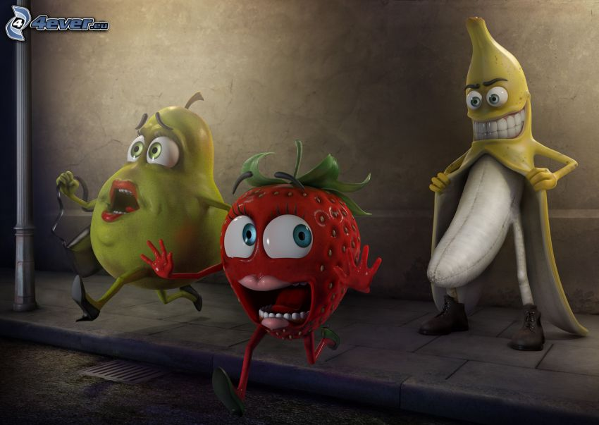 úchyl, banán, ovocie, hruška, jahoda