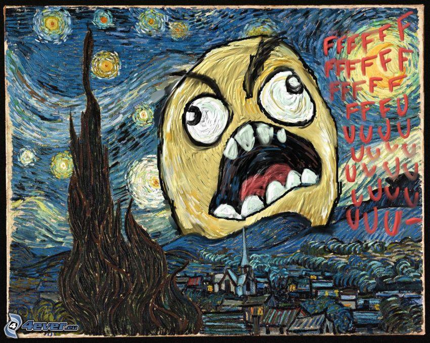 Vincent Van Gogh - Hviezdna obloha, ffffuuu, meme, paródia, obraz