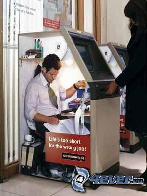 automat, práca, reklama