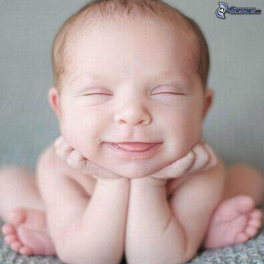 bábätko, tvár, grimasy, úsmev